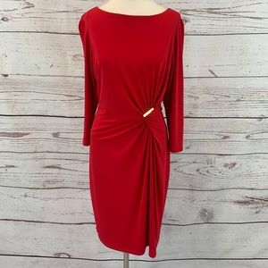 Peter Nygard Petite red dress gold accent ruched